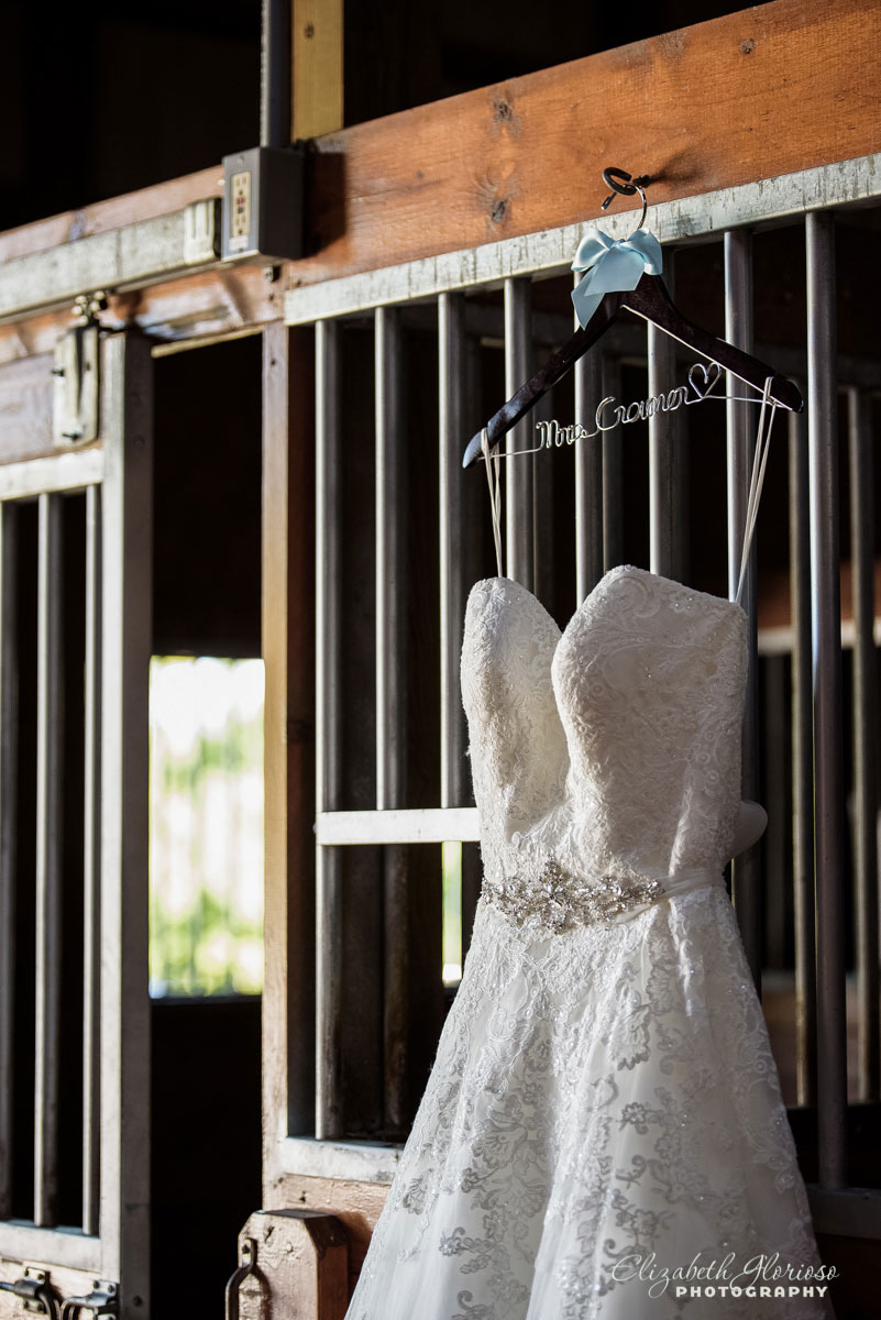 Wedding dress photo in Cleveland-area barn.