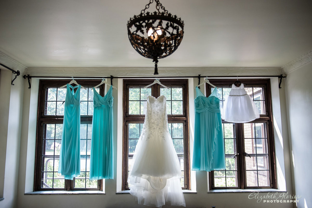 Photo of wedding and bridesmaid dresses