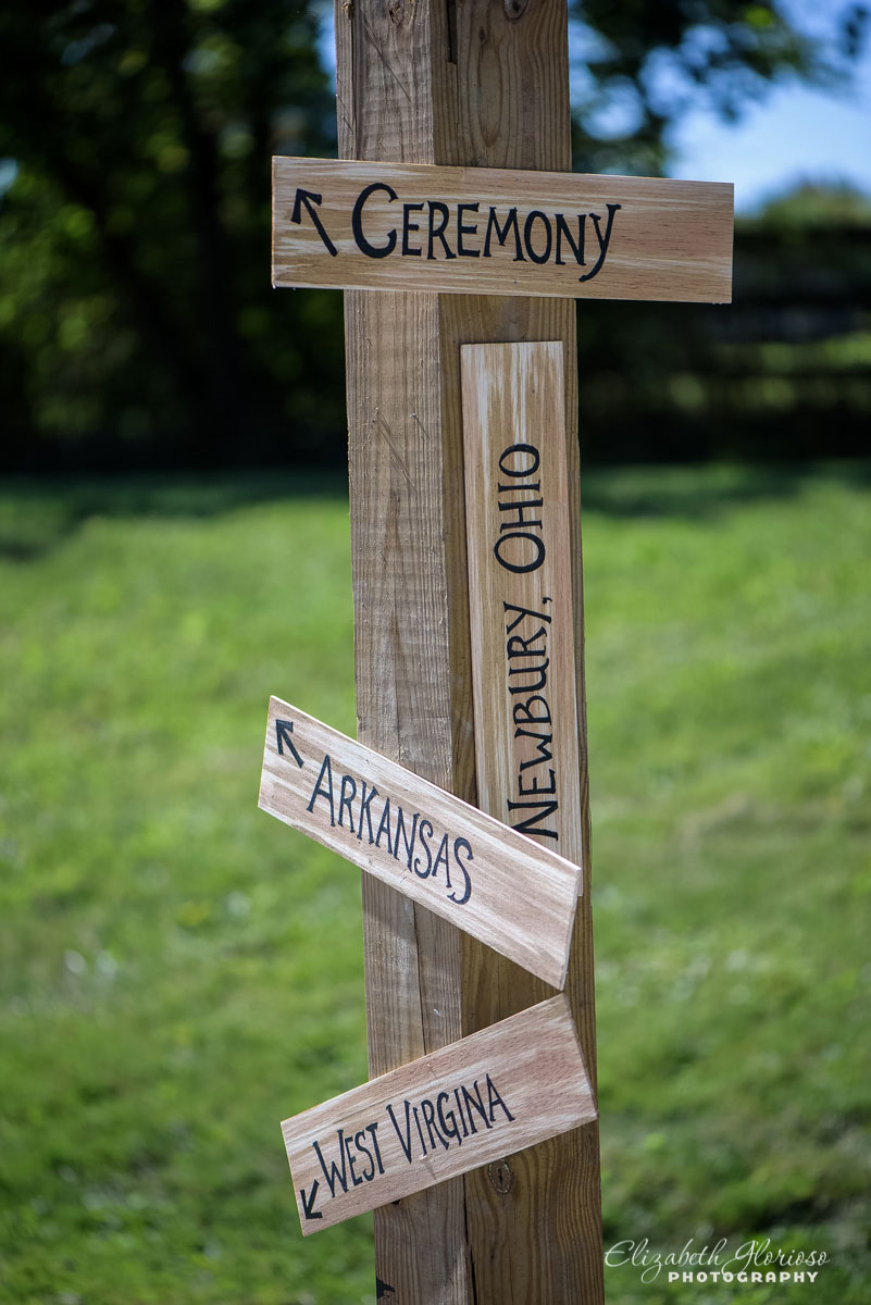 Photo of signs with directions at wedding in Newbury, OH