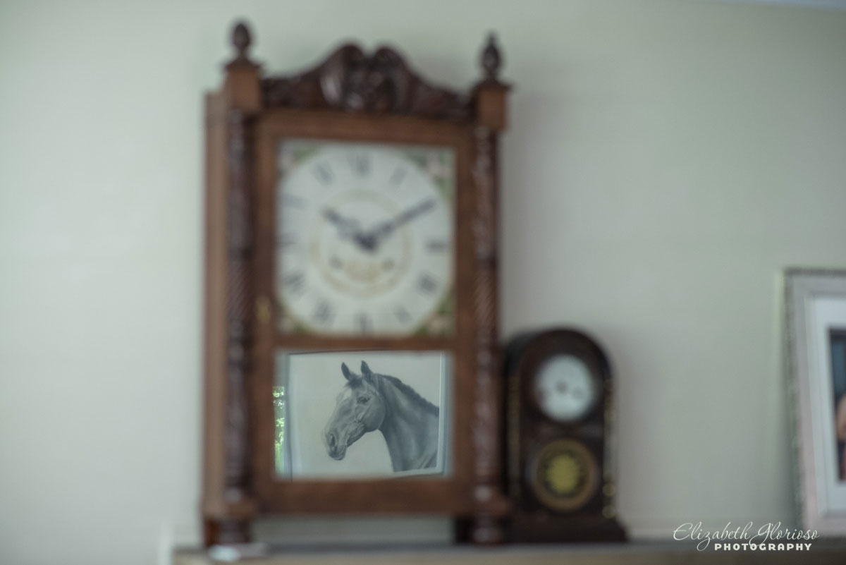 Photo of clock with horse taken for wedding