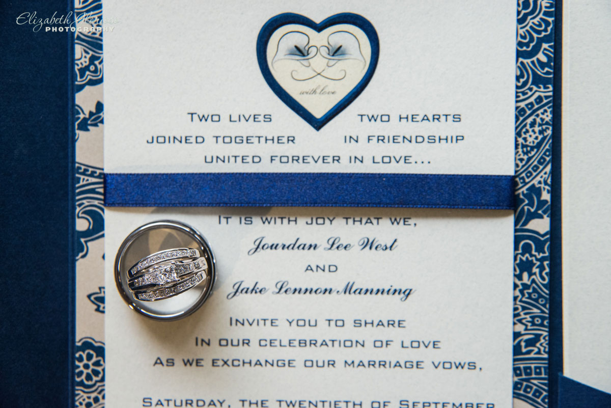 Photo of wedding rings and wedding invitation