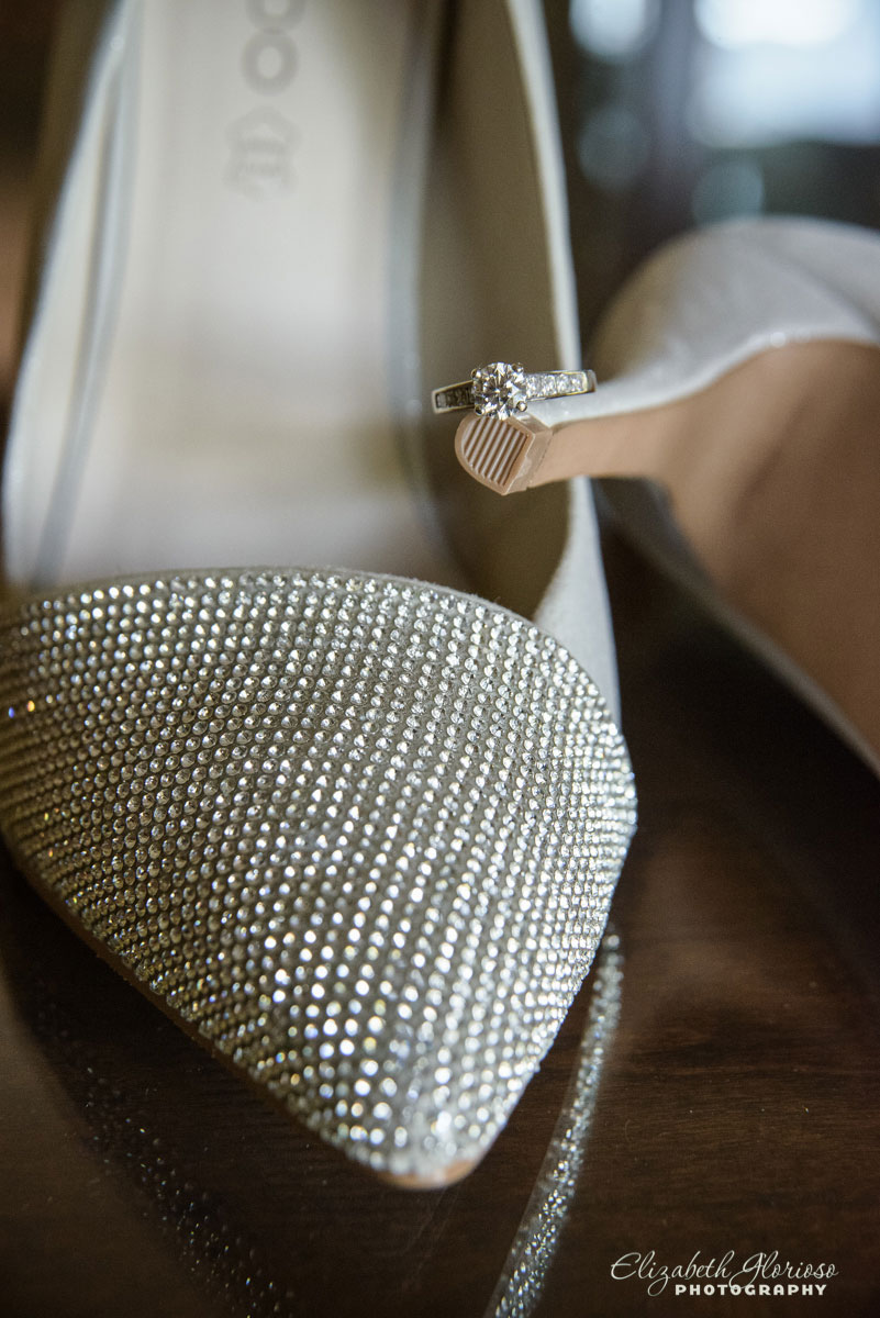 Photograph of bride's shoes to be worn at wedding