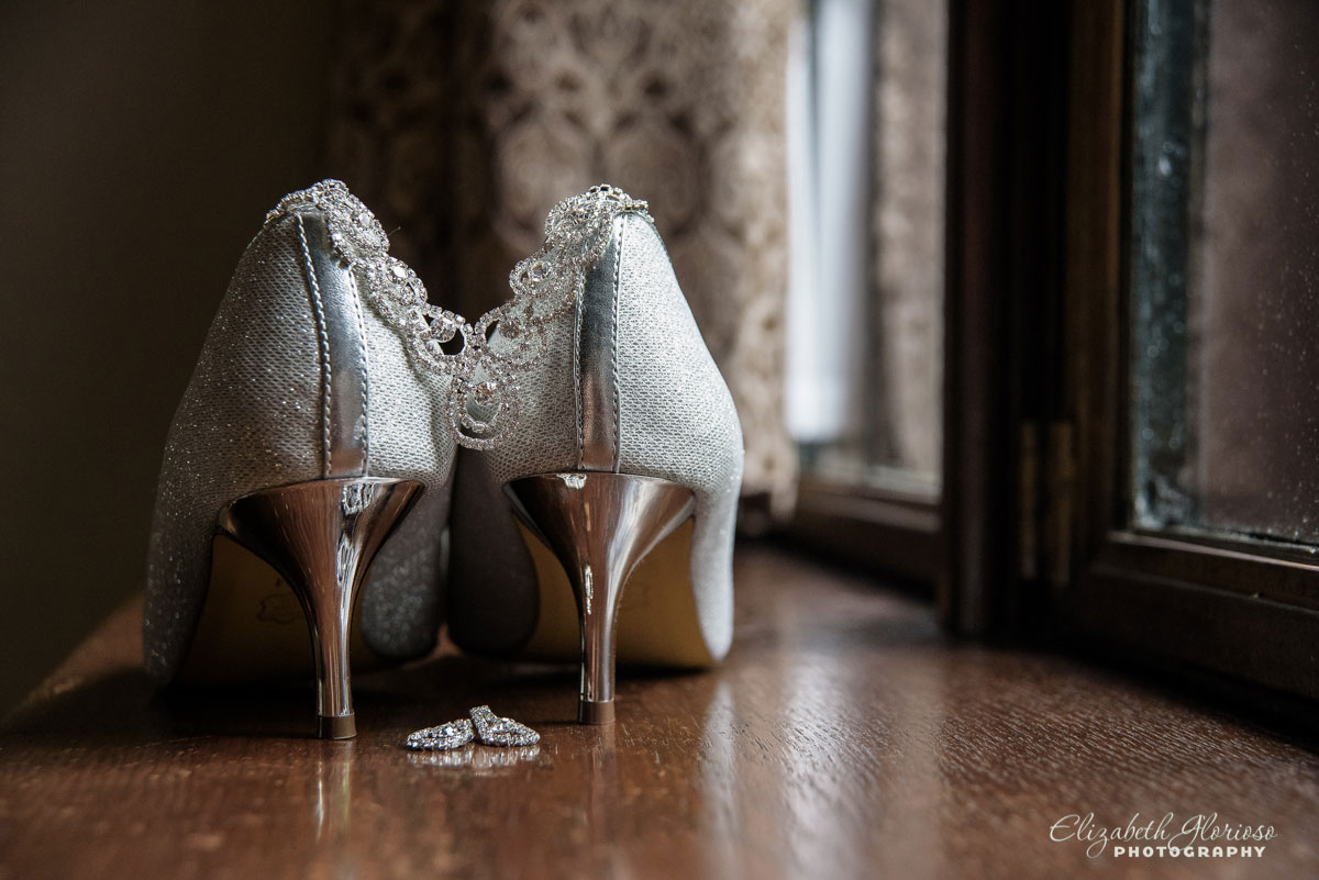 Photo of bride's shoes before wedding