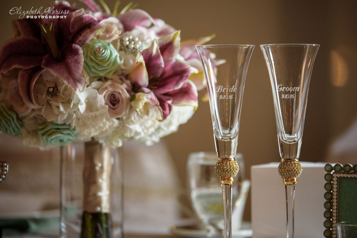 Photo of champagne glasses at wedding reception