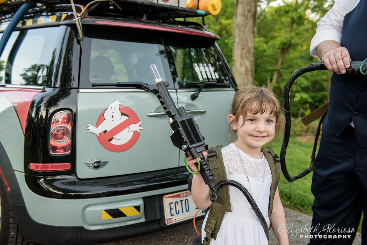 Flower girl with the Ghostbusters Bay Arts Cleveland Ohio