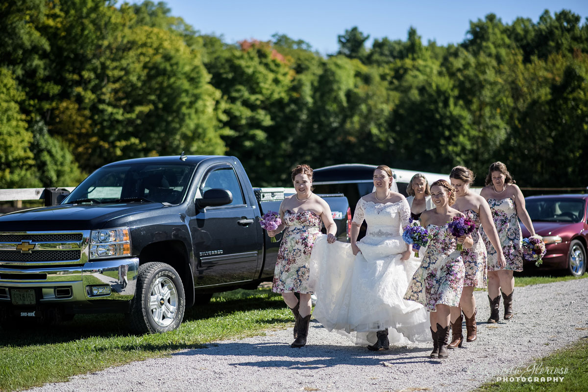 Photo of bride and bridesmaids walking down the street in Burton, Ohio