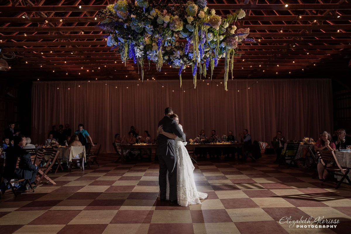Photo of bride and groom dancing at barn wedding in Chesterland, Ohio