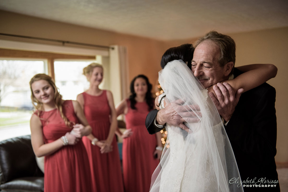 Photo of bride hugging her father in Parma, Ohio