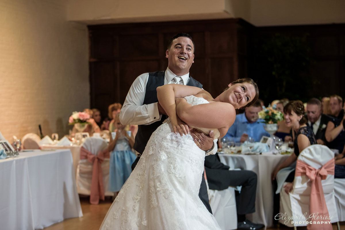 Picture of bride and groom dancing at Stan Hywet Hall in Akron, OH