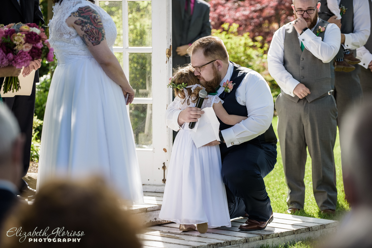 Groom with daughter at wedding ceremony at Bay Arts Bay Village Ohio