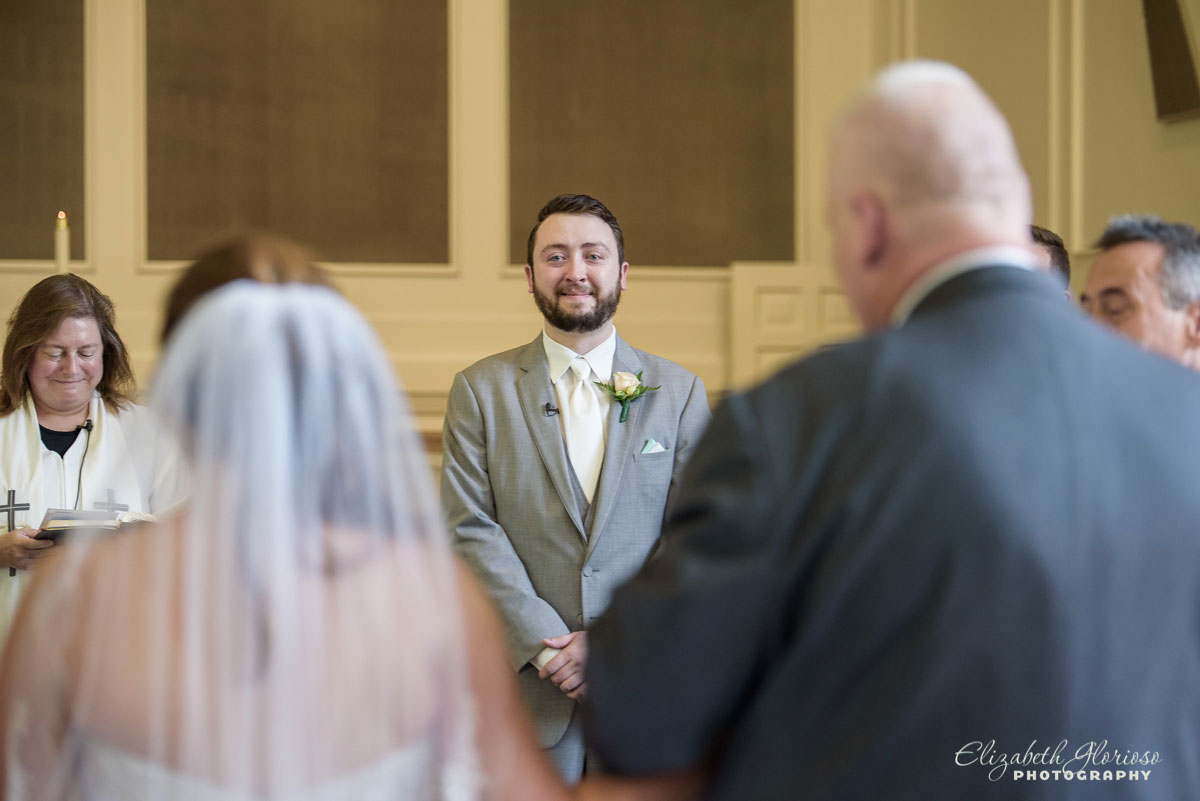 Photo of wedding ceremony at Olmsted Community Church in Olmsted Falls, OH