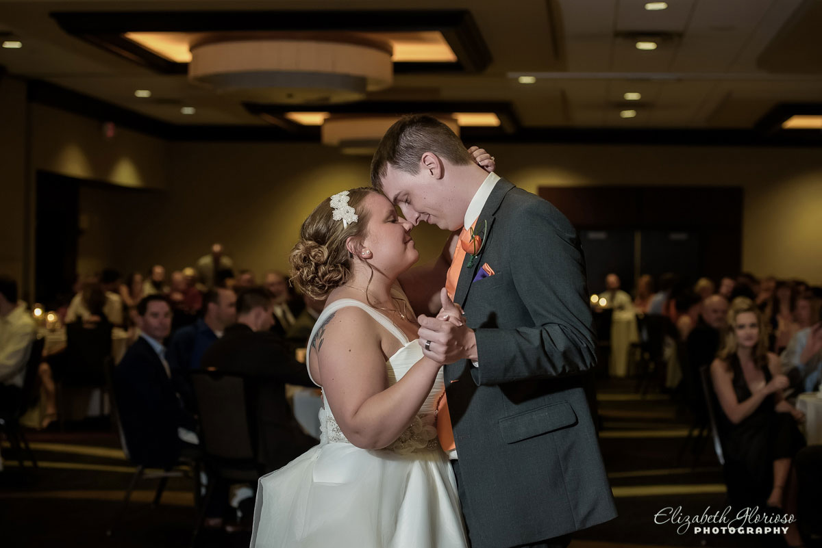 Photo of bride and groom dancing at the Hilton Double Tree in Cleveland, OH