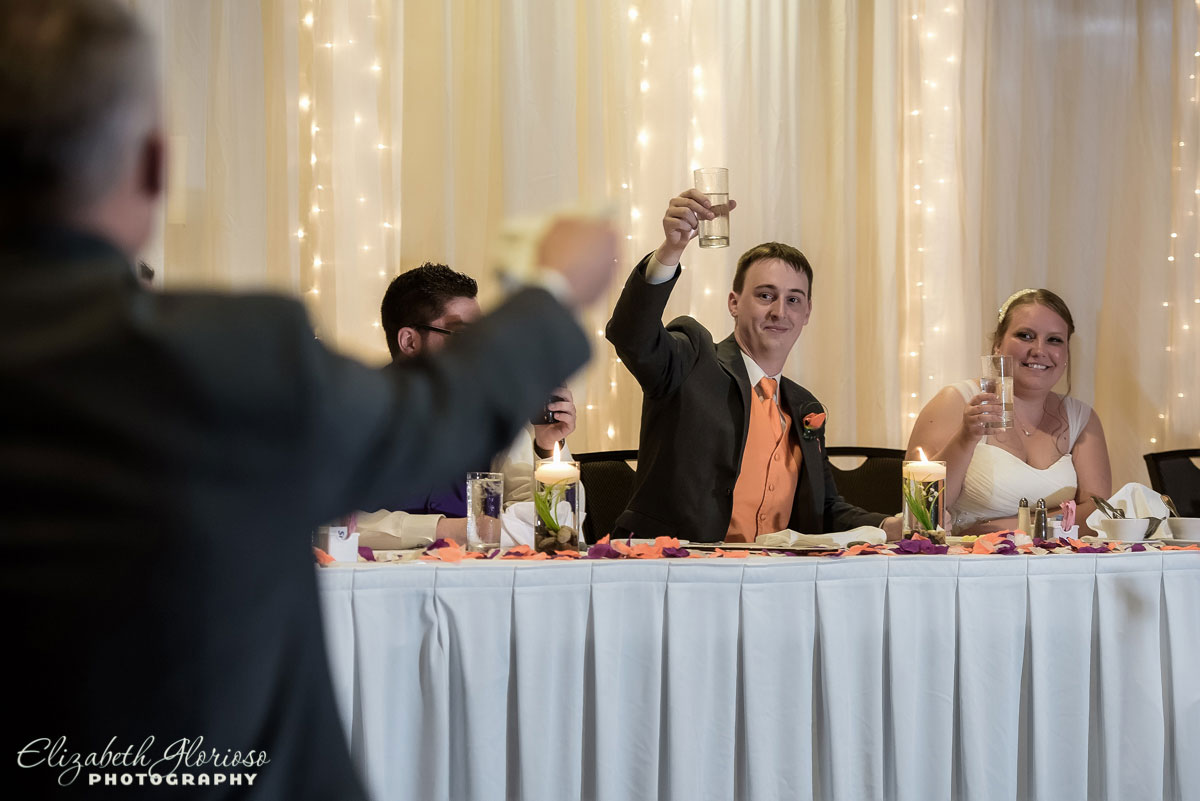 Photo of wedding toast at the Hilton Double Tree in Cleveland, OH