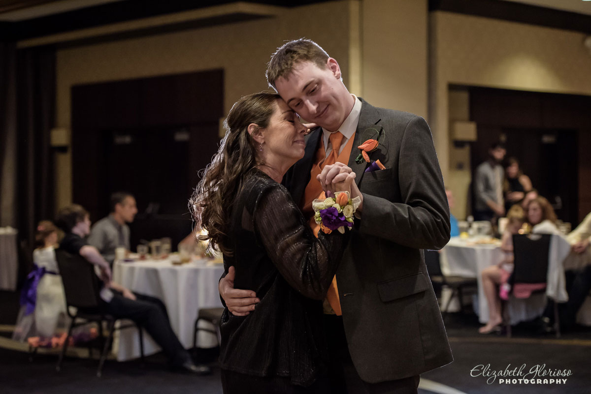 Photo of bride and groom dancing at their wedding reception at the Hilton Double Tree in Cleveland, OH