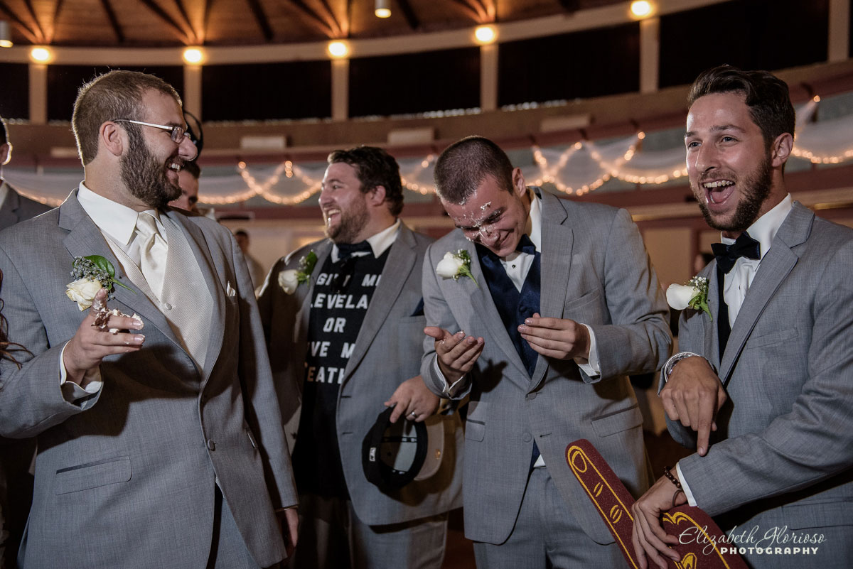 Photo of happy groomsmen taken at the Astrodome of Parma, OH