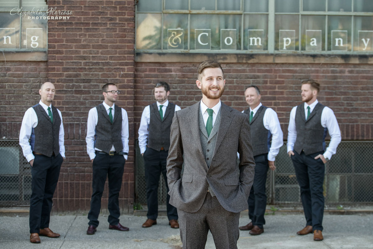 Wedding picture of groom and groomsmen at the SmArt Space West 78th Street Studios in Cleveland