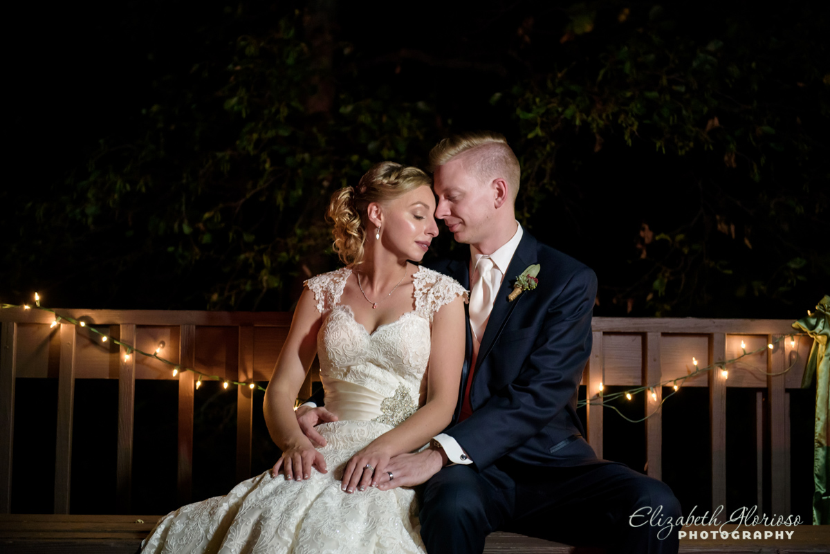 Bride and Groom portrait with twinkle lights Cleveland Ohio