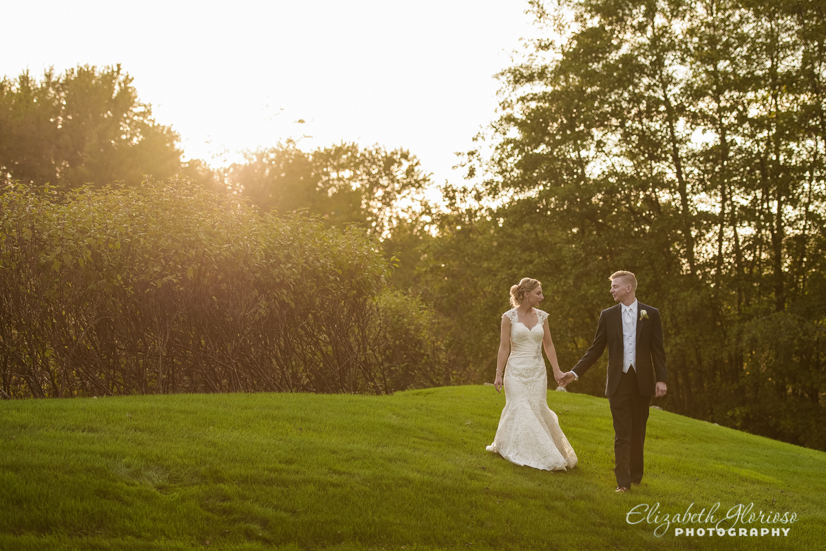 Bride and Groom portrait at Sunset in Cleveland Ohio