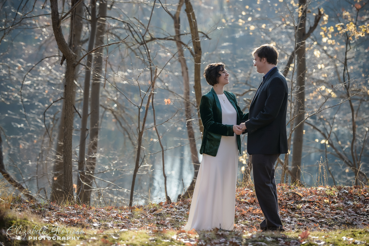 Winter wedding portrait at Shaker Lakes Shaker Heights Ohio