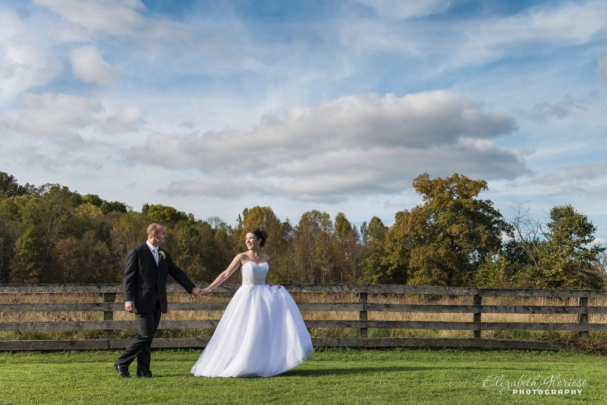 Photo of bride and groom holding hands at The Conrad Botzum Farmstead in Akron, Ohio