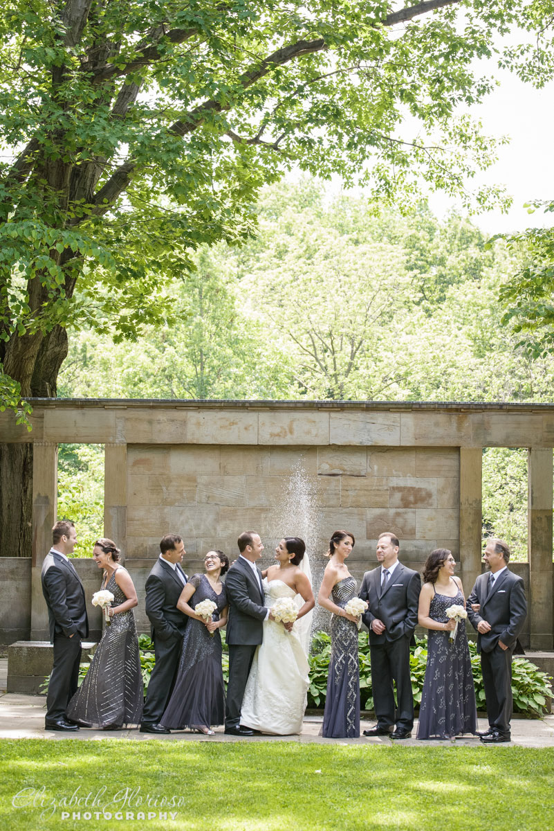 Photo of bridal party near the fountain at the Cleveland Cultural Gardens