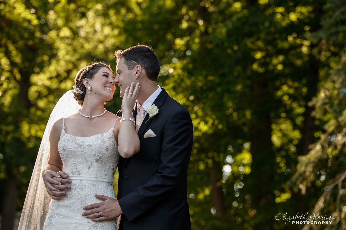 Portrait of bride and groom at Tom's Country Place in Avon, OH