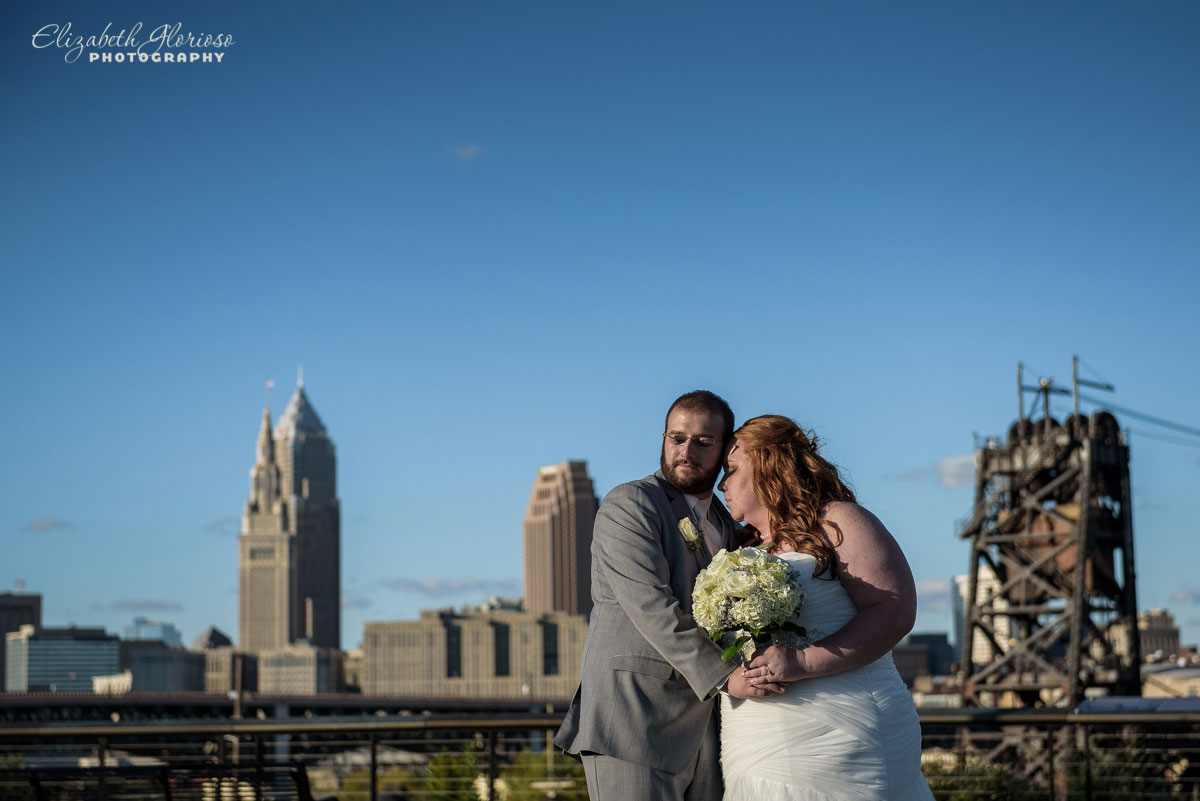 Photo of bride and groom taken in the Tremont neighborhood in Cleveland