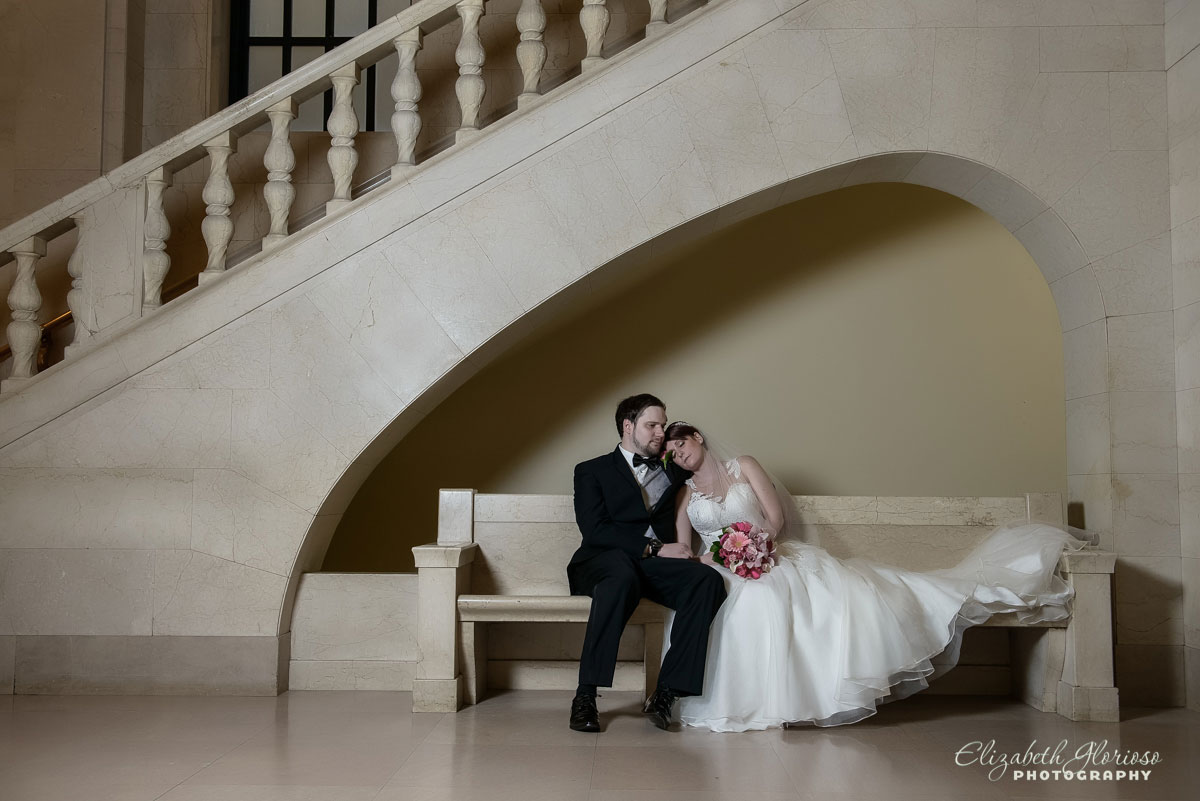 Portrait of bride and groom at the Cleveland Public Library