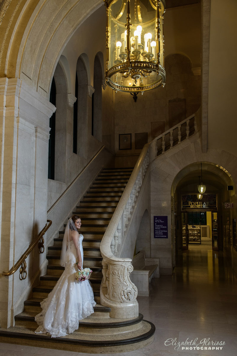 Portrait of bride on the stairs in the Cleveland Public Library
