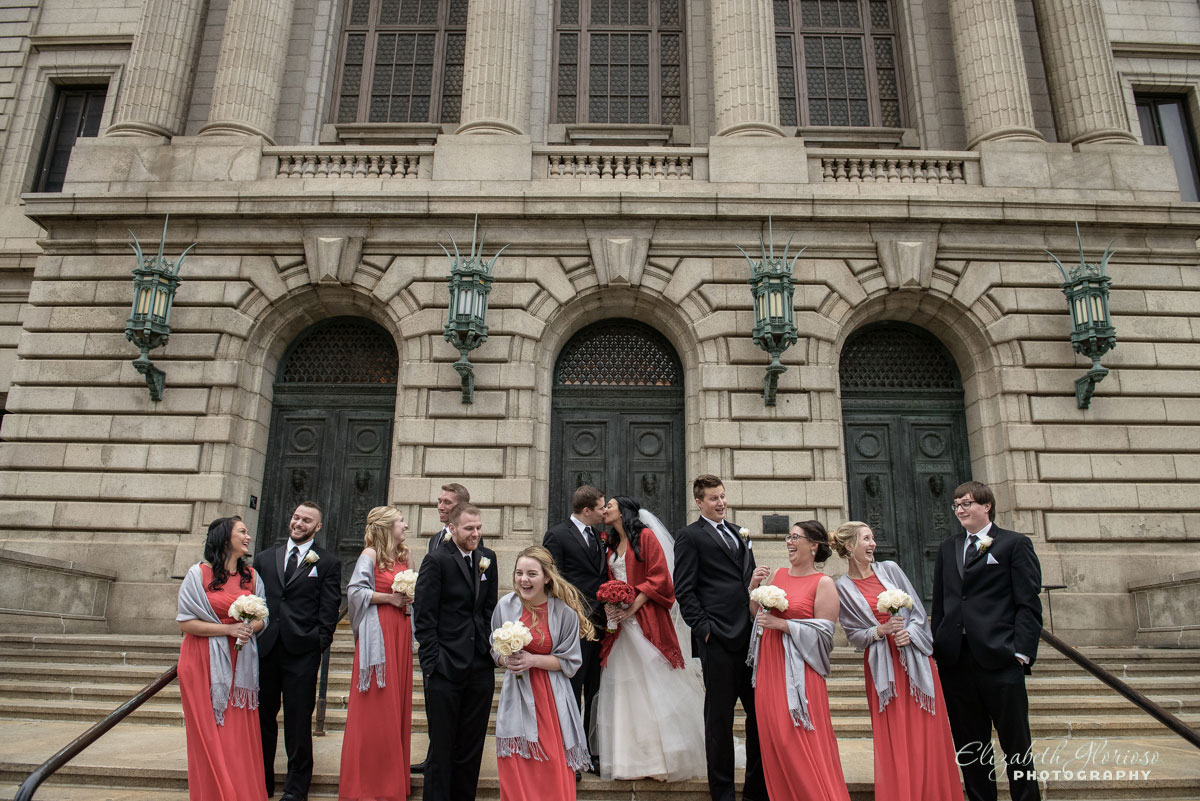 Portrait of bridal party taken at the Old Courthouse in Cleveland, OH