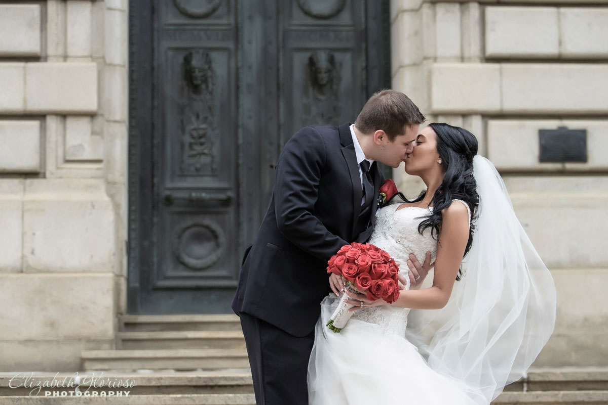 Photo of bride and groom taken at the Old Courthouse in Cleveland, OH