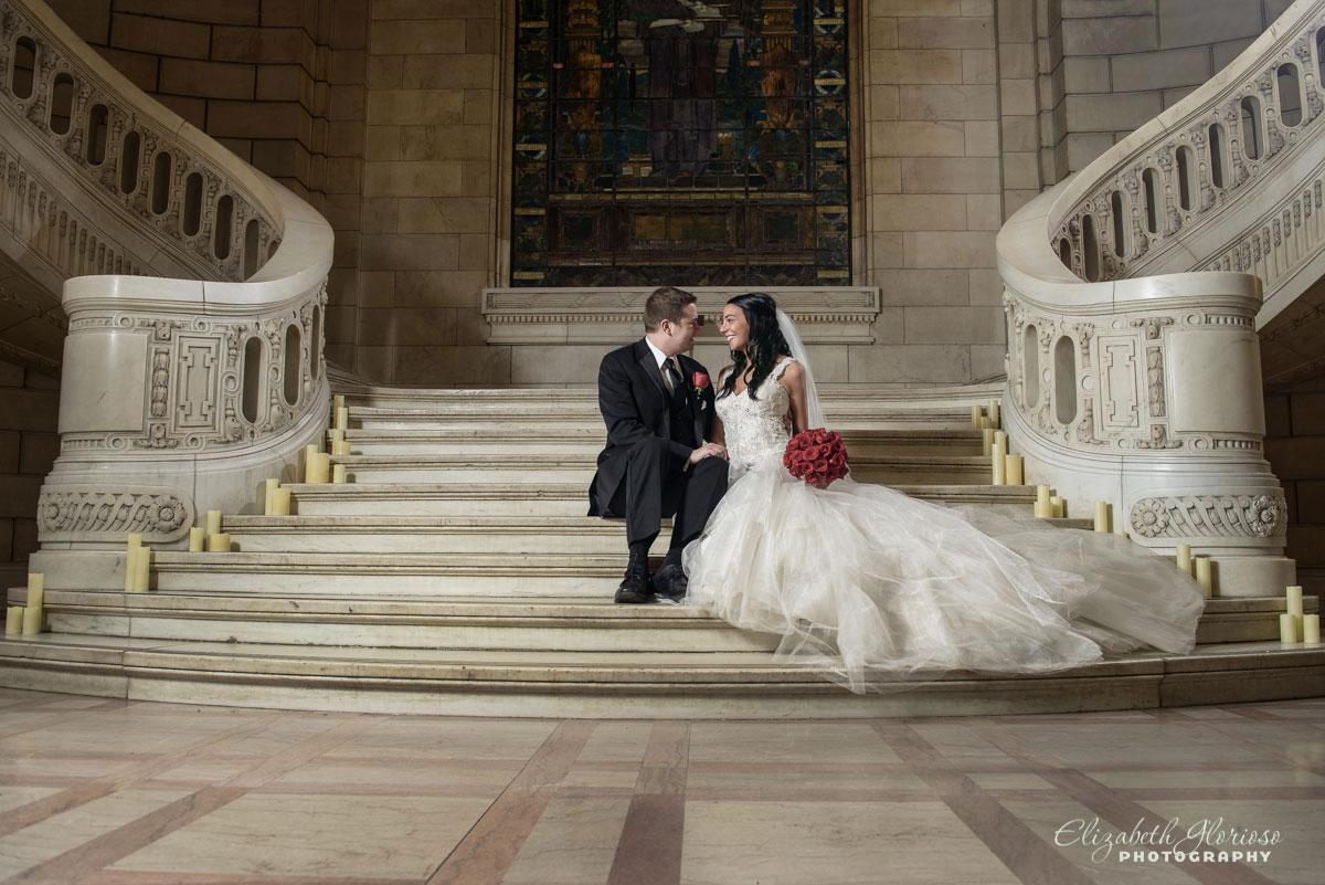 Photo of bride and groom inside the Old Courthouse in Cleveland, OH