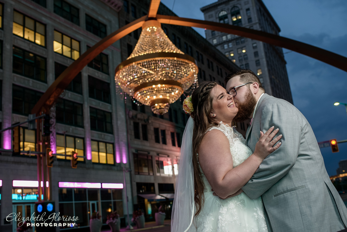 Bride and Groom portrait Playhouse Square Chandelier